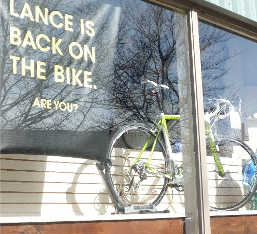 Still in the window at Gregg's Greenlake Cycle
