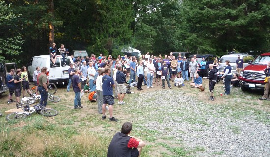 Evergreen Mountain Bike Alliance members gather at Duthie HIll clearing